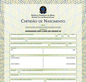 2 via certidão de nascimento