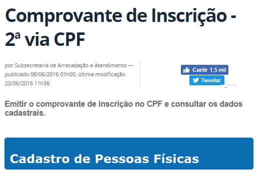 2ª via do CPF - como tirar