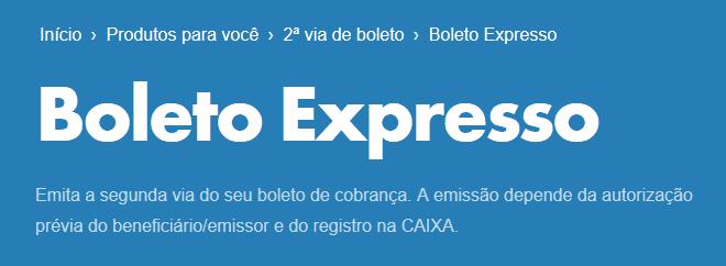 Bloqueto Expresso Caixa - Segunda Via